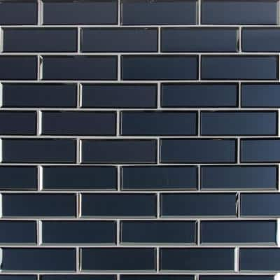 Vague Blue Subway 11.73 in. x 11.73 in. x 6 mm Glossy Glass Mesh-Mounted Mosaic Tile (14.4 sq. ft./Case)