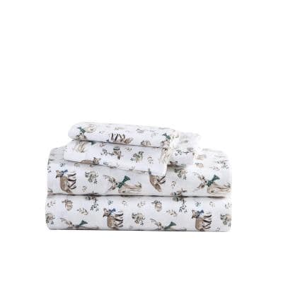 Woodland Friends 4-Piece White Cotton Flannel King Sheet Set
