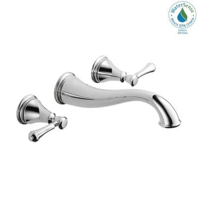 Cassidy 2-Handle Wall Mount Bathroom Faucet Trim Kit in Chrome [Valve not Included]