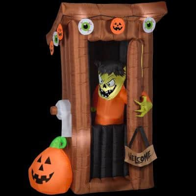 6 ft. Tall Animated Halloween Inflatable Spooky Outhouse Monster with Door Opening