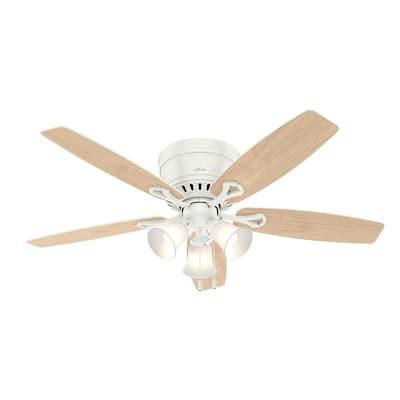 Oakhurst II 52 in. Low Profile LED Indoor Fresh White Ceiling Fan with Light Kit