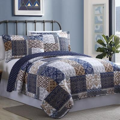 2-Piece Multi-Colored Twin Laura Printed Reversible Microfiber Quilt Set