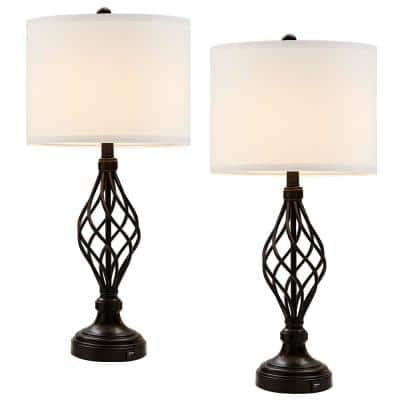 28 in. Bronze USB Table Lamp with White Linen Shade, 9.5-Watt LED Bulbs Included (Set of 2)