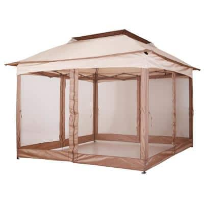 11 ft. x 11 ft. Outdoor 2-Tier Top Folding Portable Pop Up Gazebo with Removable Zippered Netting and Weather Protection