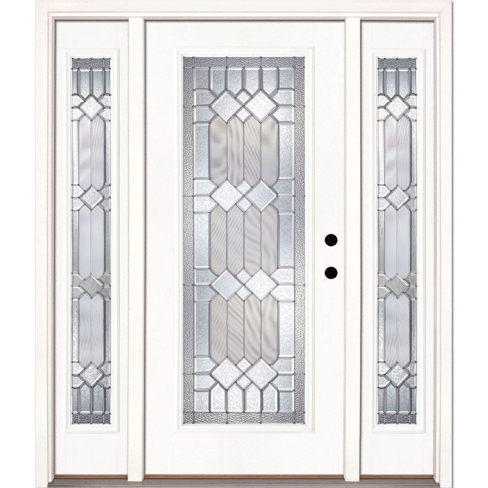 Feather River Doors 63 5 In X81 625 In Mission Pointe Zinc Full Lite Unfinished Smooth Left Hand Fiberglass Prehung Front Door W Sidelites 682190 3a4 The Home Depot