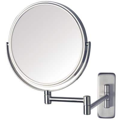 8 in. Dia Single Wall Mounted Makeup Mirror in Nickel