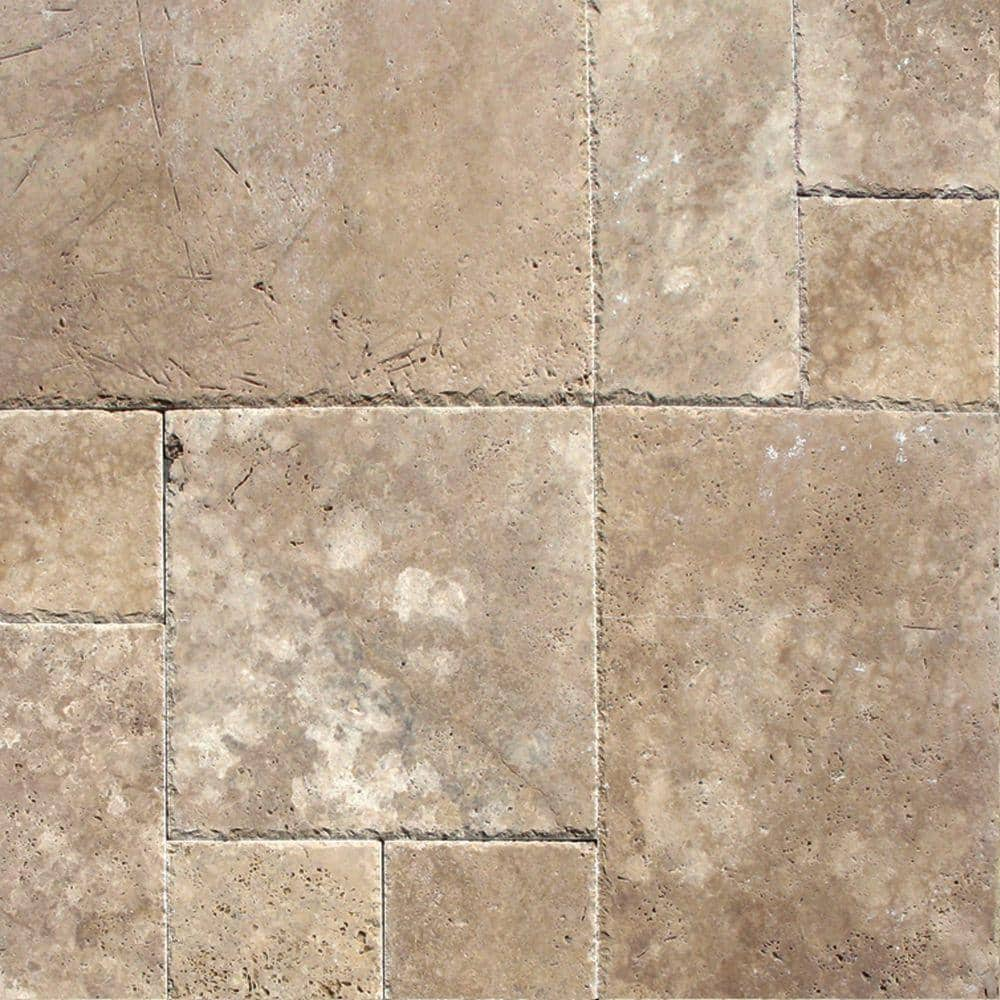 Msi Walnut Blend Pattern Honed Unfilled Chipped Travertine Floor And Wall Tile 1 Kit 8 Sq Ft Case Thdwal Pat Hufc The Home Depot
