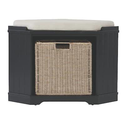 Whitaker Black Storage Bench