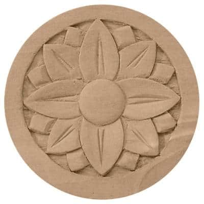 5/8 in. x 4-1/4 in. x 4-1/4 in. Unfinished Wood Cherry Bedford Rosette