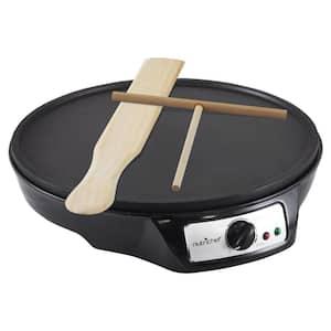 12 in. 1-Burner Black Electric Crepe Maker and Griddle, Hot Plate Cooktop