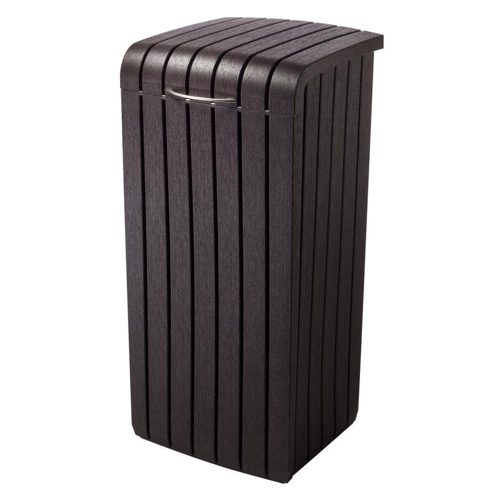 Keter 30 Gal Brown Copenhagen Wood Style Plastic Trash Can 232126 The Home Depot