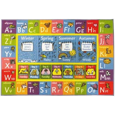 Multi-Color Kids Children Bedroom ABC Alphabet Seasons Months Educational Learning 8 ft. x 10 ft. Area Rug