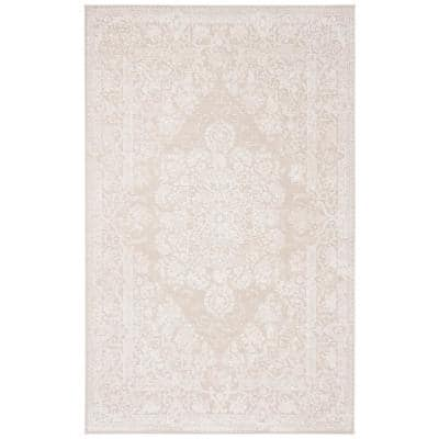 Reflection Cream/Ivory 4 ft. x 6 ft. Floral Border Area Rug