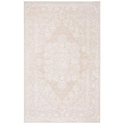 Reflection Cream/Ivory 5 ft. x 8 ft. Floral Border Area Rug