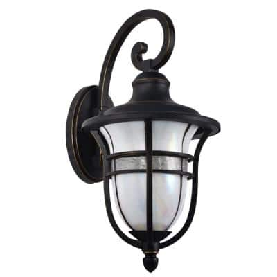 Kenya 17.5 in. Golden Black Wall Sconce with Hand Rolled Art Glass Shade