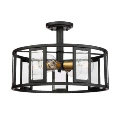 4-Light Black Semi-Flush Mount with Clear Beveled Glass