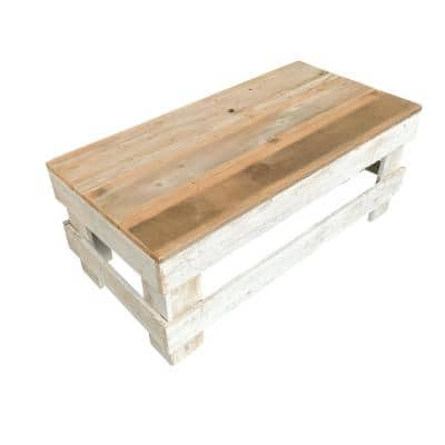 Reclaimed Wood 20 in. Coffee Table, Natural/White