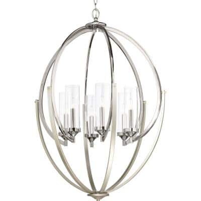 Evoke Collection 6-Light Polished Nickel Clear Glass Luxe Chandelier Light