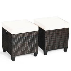 Brown Wicker Outdoor Ottoman with Beige Cushion (2-Pack)