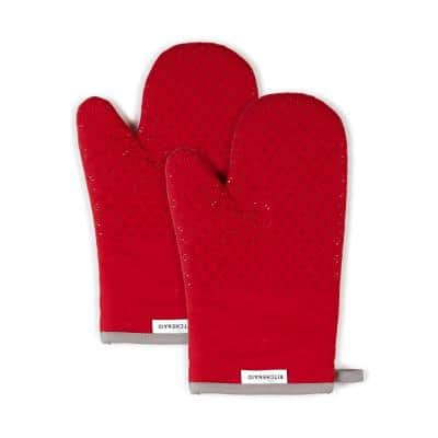 Asteroid Silicone Grip Red Oven Mitt (2-Pack)