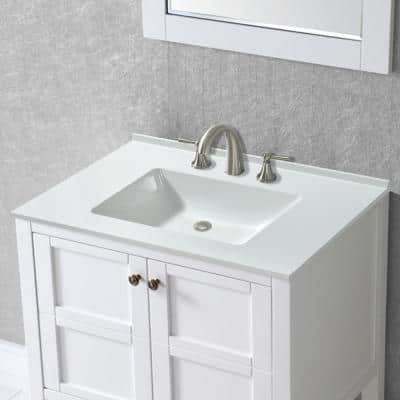 Coalville 31 in. W x 19 in. D Single Basin Solid Surface Vanity Top in Glossy White with Integrated White Basin