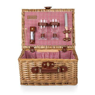 Classic Red and White Check Wine and Cheese Basket