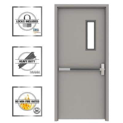 36 in. x 84 in. Gray Flush Exit with 5x20 VL Left-Hand Fireproof Steel Prehung Commercial Door with Welded Frame