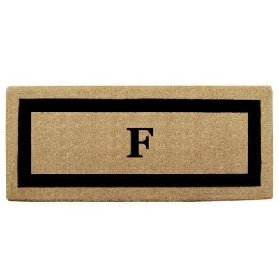 Single Picture Frame Black 24 in. x 57 in. Heavy Duty Coir Monogrammed F Door Mat