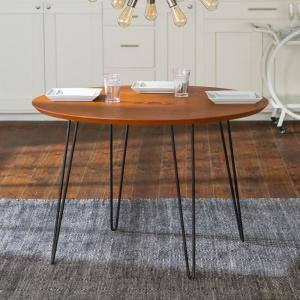 46 in. Walnut Round Hairpin Leg Dining Table