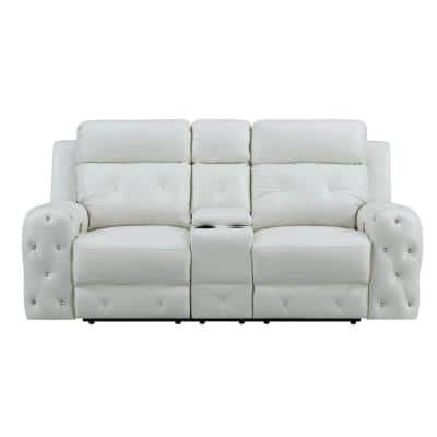 Charlie 34 in. White Solid Leather 2-Seater Loveseat with Reclining