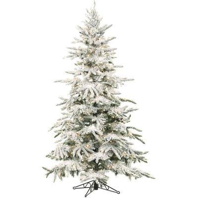 7.5 ft. Pre-lit LED Flocked Mountain Pine Artificial Christmas Tree with 550 Multi-Color String Lights
