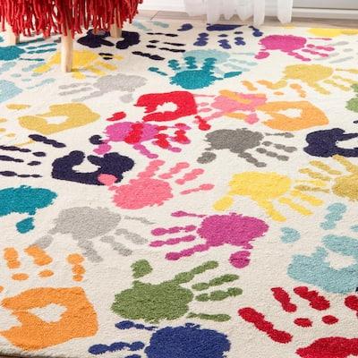 Pinkie Handprint Playmat Multi 5 ft. x 8 ft. Area Rug