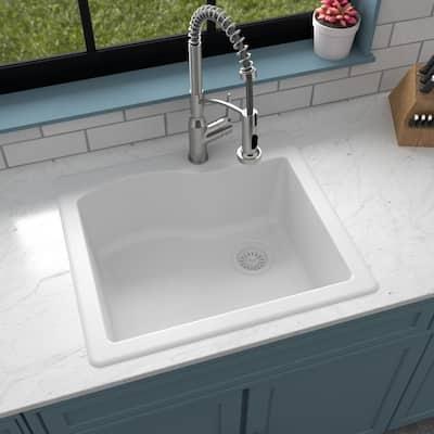 Drop-In Quartz Composite 25 in. 1-Hole Single Bowl Kitchen Sink in White