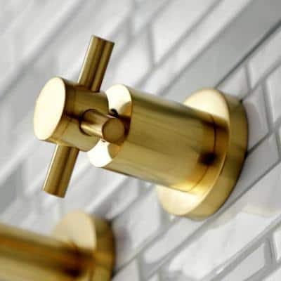 Concord 2-Handle Wall Mount Bathroom Faucet in Brushed Brass