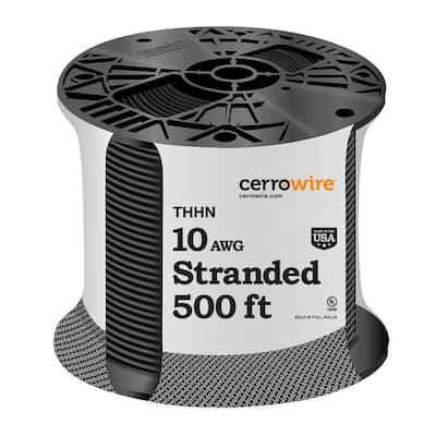 500 ft. 10 Gauge Black Stranded CU THHN Wire