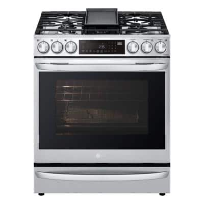 6.3 cu. ft. Smart Slide-In Gas Range with ProBake Convection & Air Sous Vide in PrintProof Stainless Steel