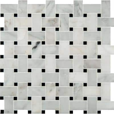 Greecian White Basketweave 12 in. x 12 in. x 10 mm Polished Marble Mesh-Mounted Mosaic Tile (1 sq. ft.)