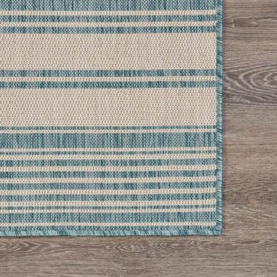 Coastal Beach Blue/White 7 ft. 6 in. x 9 ft. 5 in. Striped Polypropylene Indoor/Outdoor Area Rug
