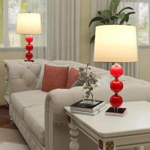 32 in. Red Glass Table Set with White Fabric Lamp Shade (Set of 2)