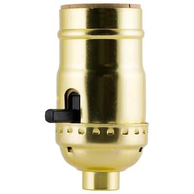 Push On/Off Brass Lamp Socket Housing - Aluminum