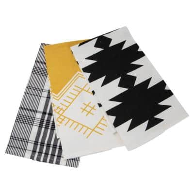 Foreside Home and Garden (Set of 3) Plaid and Abstract Pattern 27 in. x 18 in. Woven Kitchen Tea Towels