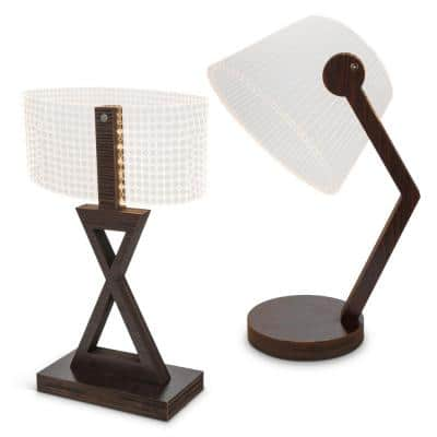 17.72 in. Brown Etched Acrylic Desk Lamp (Set of 2)