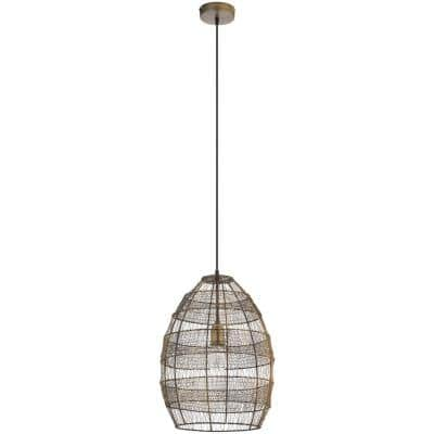 1-Light Brass Pendant with Oversized Woven Shade