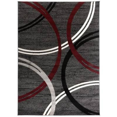 Modern Abstract Circles Red 7 ft. 10 in. x 10 ft. 2 in. Indoor Area Rug