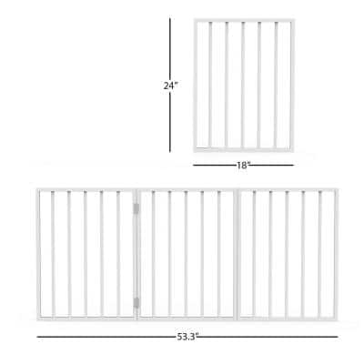 Free-Standing White Wooden Pet Gate