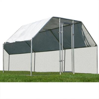 6 ft. W x 9 ft. Heavy-Duty Galvanized Steel Outdoor Chicken Coop and Poultry Cage Canopy and Shelter Enclosure