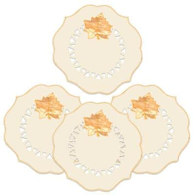 Harvest Sheer 12 in. Cream Transitional Polyester Round Doilies (Set of 4)