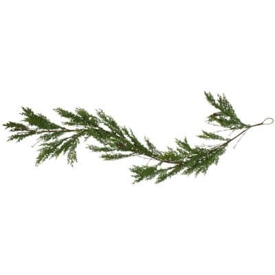 72 in. Green Cypress Unlit Artificial Christmas Garland with Black Grape Berries