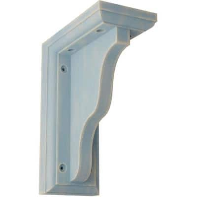 3 in. x 7 in. x 5 in. Driftwood Blue Hamilton Traditional Wood Vintage Decor Bracket