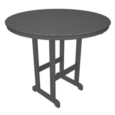 La Casa Cafe Slate Grey 48 in. Round Patio Bar Table